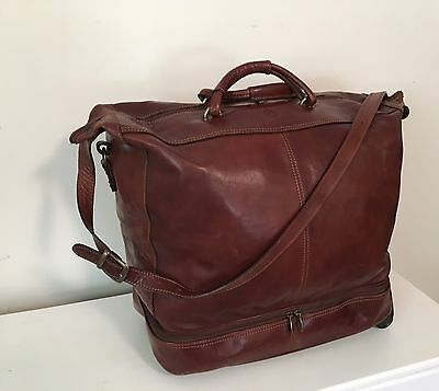 VALENTINA Travel Carry-On Large Duffle Bag,Cognac Brown, Leather