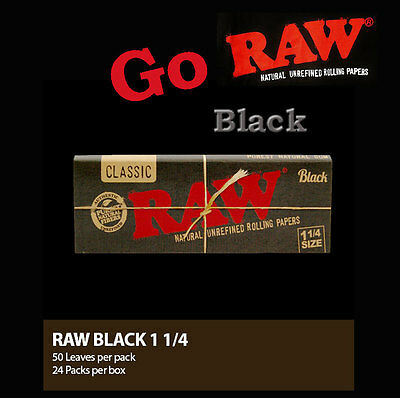 Cigarette Rolling Papers-RAW BLACK NATURAL UNREFINED 1 1/4- save $$ on Multiple