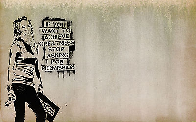 Framed Canvas print Banksy Urban girl quote wall decor Street Art  pop painting