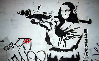 Framed Canvas print Banksy Urban mona lisa  wall decor Street Art  pop painting