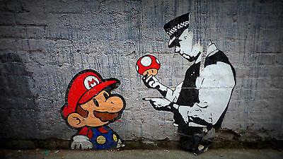 Framed Canvas print Banksy Urban Mario Brothers Police  Street Art  painting uk