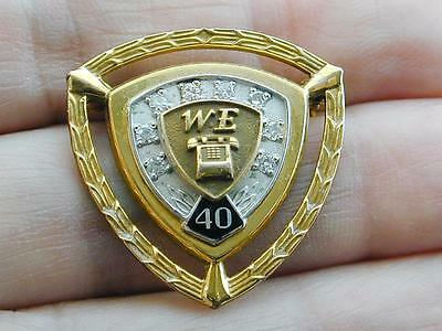 RARE 40 Year Western Electric Service Pin 14k 10k Diamond Service Pin GF