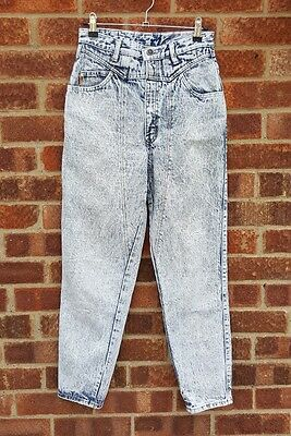 Vintage 80s blue denim acid wash high waist MOM jeans W26