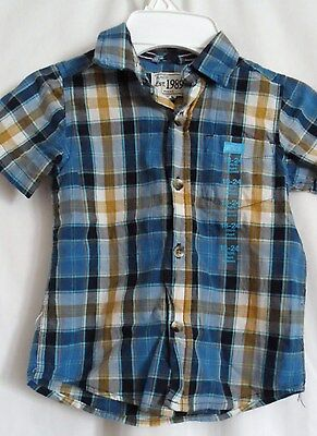 Boys 18-24 Months Blue Milk Gold Plaid Pocket Shirt Nwt ~ The Children's Place