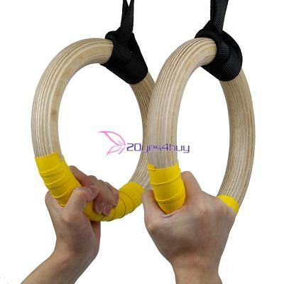 Wood Gymnastic Gym Rings w/ Strap StrengthTraining Crossfit Pull Up Dips Fitness