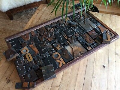 Antique/Vintage Wooden Printers Tray & 130 Letter Blocks