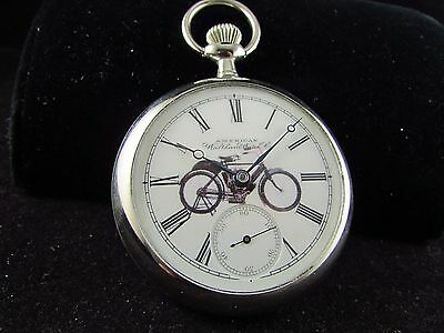 Antique waltham 18s indian motorcycle advertising pocket watch 15 jewels excel.