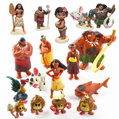 Disney Moana Action Figures Doll Necklace Kids Children Play Cake Topper Toy Set