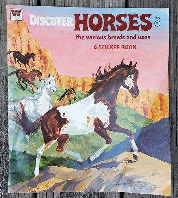 Vintage 1974 Whitman Discover HORSES Various Breeds & Uses Sticker Book Unused