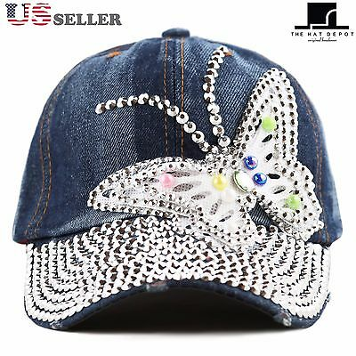 The Hat Depot Women's Butterfly Rhinestone with Bling Studded Denim Cap