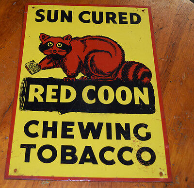 Vintage Red Coon Chewing Tobacco metal advertising sign