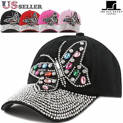The Hat Depot Women's Butterfly Rhinestone with Bling Studded Cap
