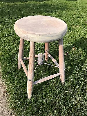 Antique Farmhouse Weathered Stool With Tensor