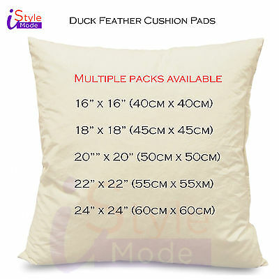 """Duck Feather Cushion Pads Inners Inserts Scatters  Fillers 16"""" 18"""" 20"""" 22"""" 24"""""""