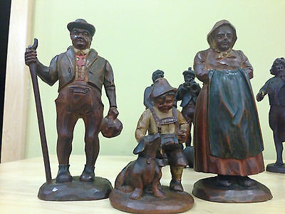 Black Forest Hand Carved Family and Dog