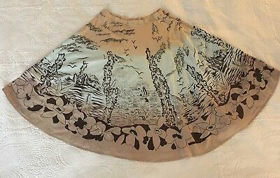 Retro Funky People Native American Southwest 1950s Scene Sequined Circle Skirt S