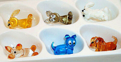 """Dog MINI 1"""" figurines hand-crafted Cartoon images assorted types 6 pc. box"""