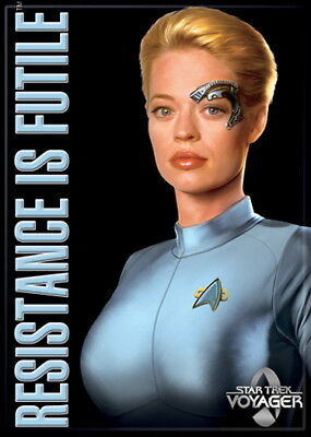 Star Trek Voyager Seven of Nine Resistance Is Futile Refrigerator Magnet NEW