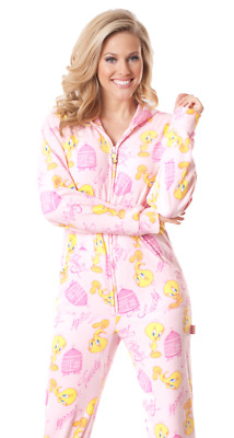 Unisex Soft Pink Tweety Bird Looney Tunes Polar Fleece Adult Sized Footed Pajama