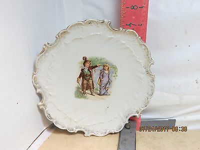 Decorative China Plate - Victorian Children Image - No Maker Marks , No Damage!