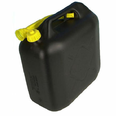 20L Black Plastic Fuel Jerry Can Petrol Diesel Water 20 Litre With Spout New