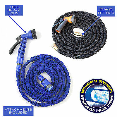 EXPANDABLE FLEXIBLE GARDEN HOSE PIPE 3x EXPANDING FITTING + 7 SETTING SPRAY GUN