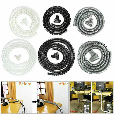 2m Metre White Cable Tidy Kit PC TV Wire Organising Wrap Tool Spiral Office Home