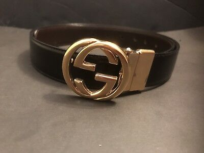 Black Gucci Women's Belt With Gold GG Logo Buckle Size Small