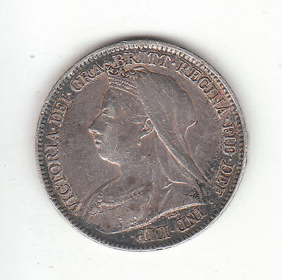 1896 Great Britain Queen Victoria Silver Sixpence.  Free S&H.