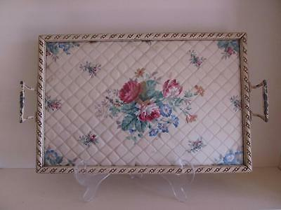 Vintage 50s Serving Tray Wood Glass Fabric Metal Shabby Roses P/U W Footscray
