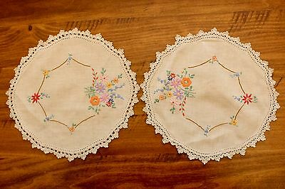 Vintage Pair of Hand Embroidered Doilies - Floral Bouquet  -  GVC