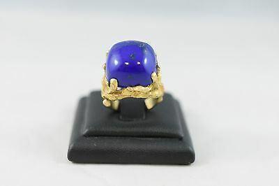 Ring Ladies 18ct Yellow Gold Lapis Lazuli Dress Set Ring