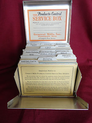 General Mills Flour Products Control Service Box Metal Cards History Baking 1940