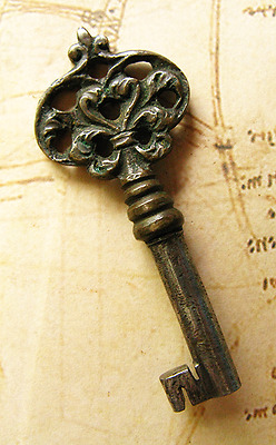 Genuine Brass w/ Heart Top Antique Skeleton Key - More Rare Weird Old Keys Here
