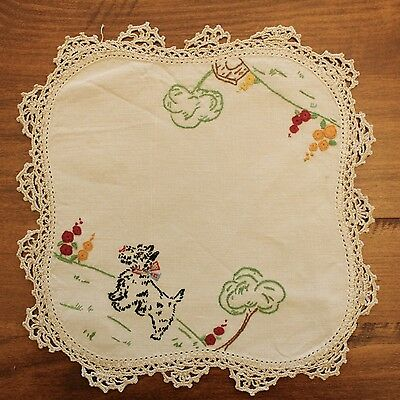 Vintage Hand Embroidered Terrier Dog and Kennel Doily - GVC