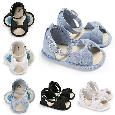 Soft Toddler Baby Girl Canvas Sandals Bowknot Princess Shoes Sole First Walkers