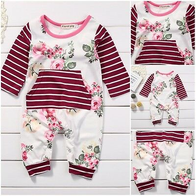 Cotton Newborn Kids Baby Girls Romper Bodysuit Jumpsuit Playsuit Clothes Outfits