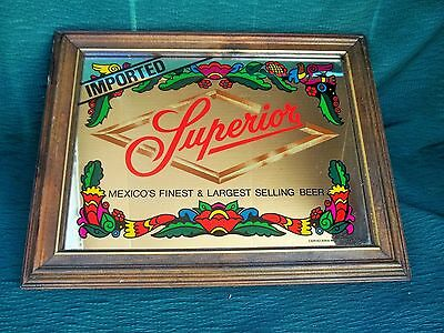 VINTAGE Superior Imported Mexican Beer Mirror Cerveceria Moctezuma, S.A. Awesome