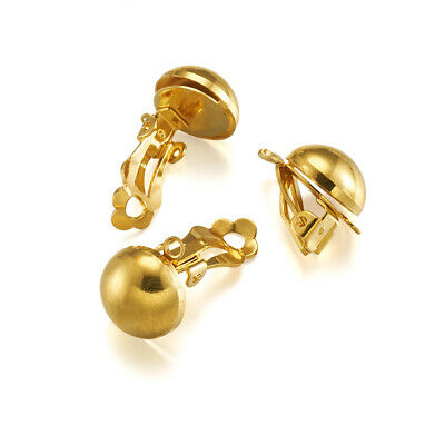 10x Gold Tone Brass Clip-on Earring Blanks Smooth Half Ball Non-Pierced 19x12mm