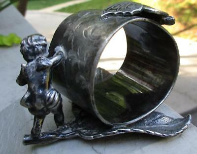 Antique Victorian Victor Silver Co. Silverplate Cherub & Butterfly Napkin Ring