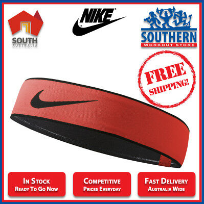 Nike Pro Swoosh Headband 2.0 Red Sport Fitness Active Wear Silicone Grip Hairtie