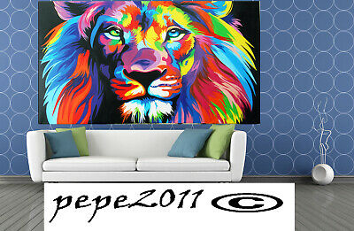 Framed  Print Canvas street pop Art  rainbow lion painting wall decor Australia