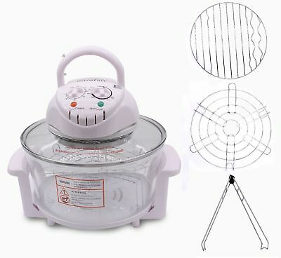 12L Halogen Convection Oven Cooker Air Fryer Rack Tong Pan Lid 2 Year Warranty