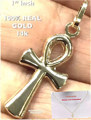 """GOLD ANKH Pendant 14k Yellow Cross Egyptian Charm Necklace SMALL 1"""""""