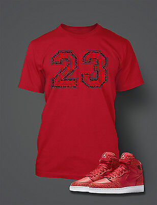 665d208d 23 T shirt To match AIR JORDAN 1 RED Cement Shoe Graphic T Shirt Big Tall