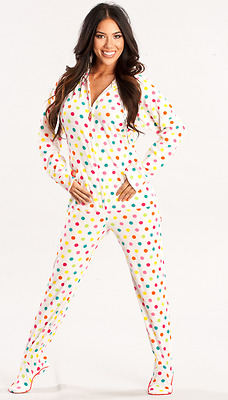 XL Confetti Polka Dot White Unisex Polar Fleece Adult Sized Footed Hoodie Pajama
