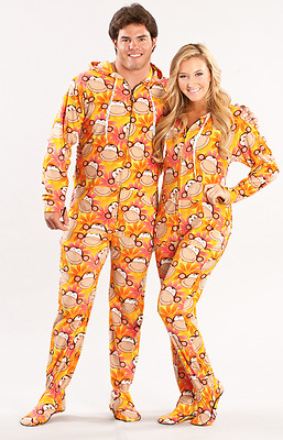 Orange Retro Monkeys Drop Seat Unisex Trap Door Adult Sized Footed Pajamas