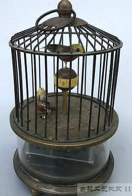 Collectible Decorate Handwork Copper Two Bird In Cage Mechanical Table Clock