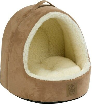 Warm Luxury Comfortable House Of Paws Hooded Faux Suede Faux Sheepskin Cat Bed