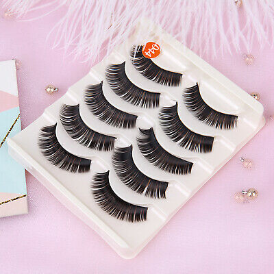5 Pair Soft Makeup False Eyelashes Long Thick Natural Eye Lashes Extension US